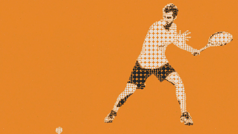 A pictogram of a tennis player hitting the ball