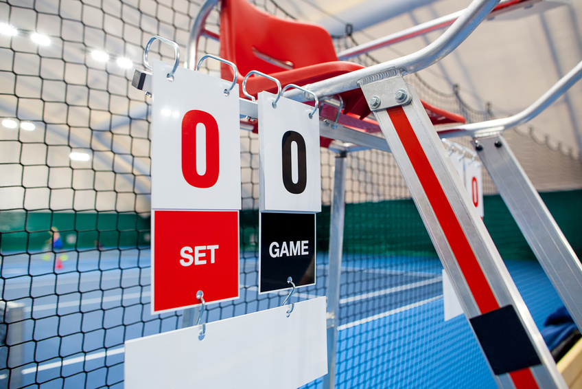 Tennis scores on a net