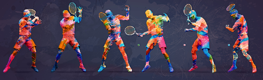 An abstract image of tennis players
