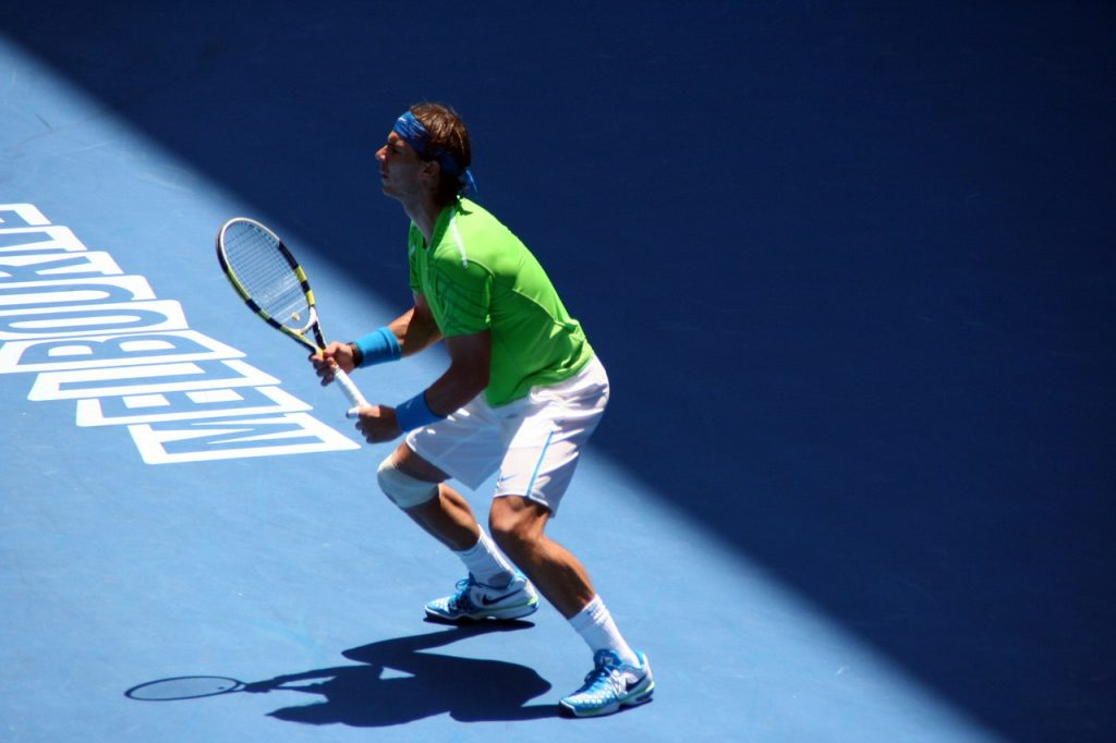 Nadal using a Babolat tennis racquet