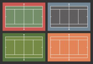 A graphic showing four different tennis court surfaces