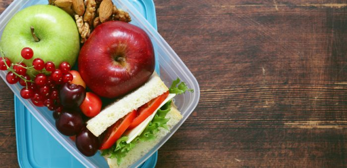 Healthy kids food in a lunchbox