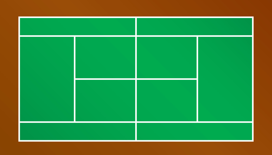 A top down view of a tennis court