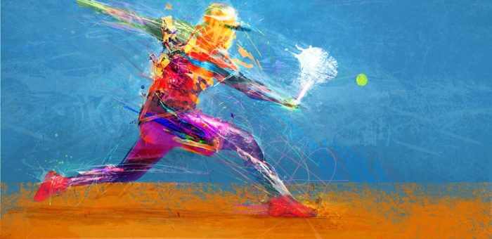 An abstract illustration of a tennis player hitting the ball