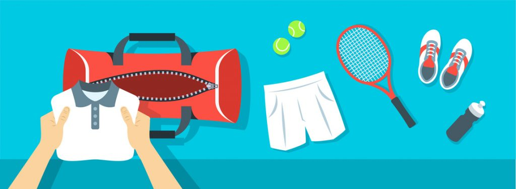 Vector image of man packing tennis clothes
