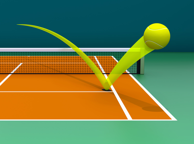 An illustration of the Hawk Eye system in tennis