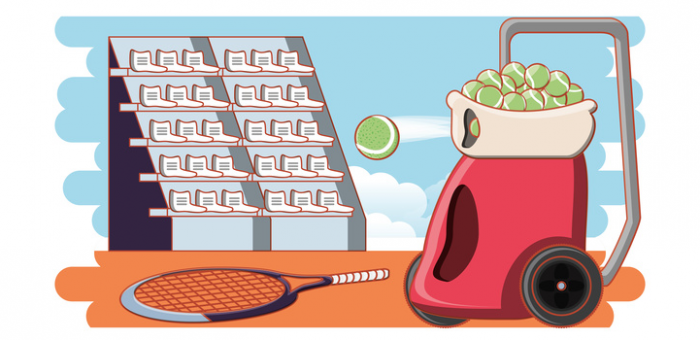 An illustration of a tennis ball machine firing a ball