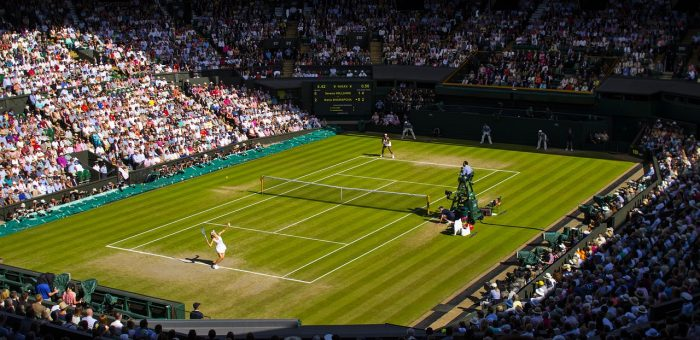 View of a court during a Wimbledon tennis match