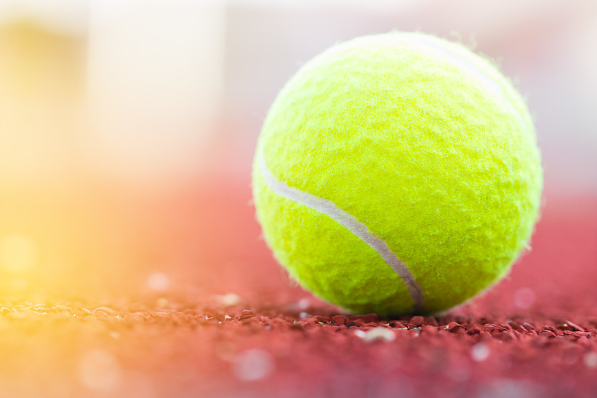 A close up shot of a tennis ball