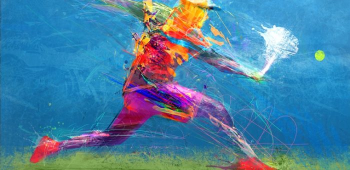 A colorful illustration of a tennis player taking a shot