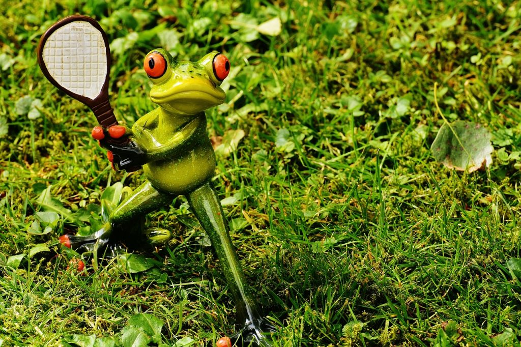 A frog with a tennis racket in it's hand