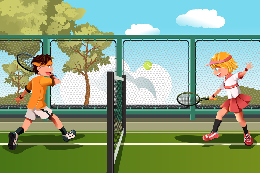 An illustration of 2 children playing tennis