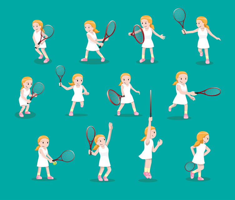 A vector image of a tennis girl doing several shots