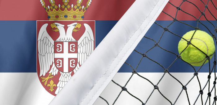 The Flag of Serbia with a tennis net and ball in front of it