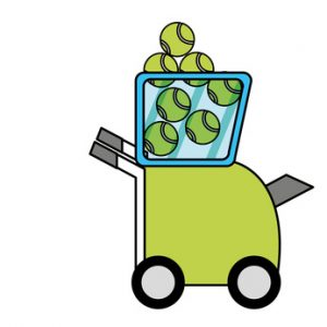 An illustration of a tennis ball machine