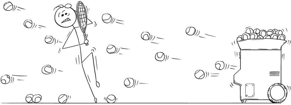 A drawing of a tennis ball machine firing balls at speed at a man