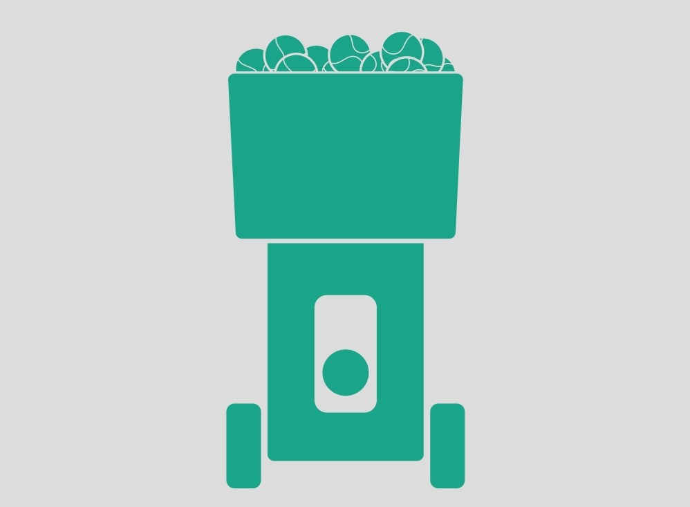 A green tennis ball machine illustration