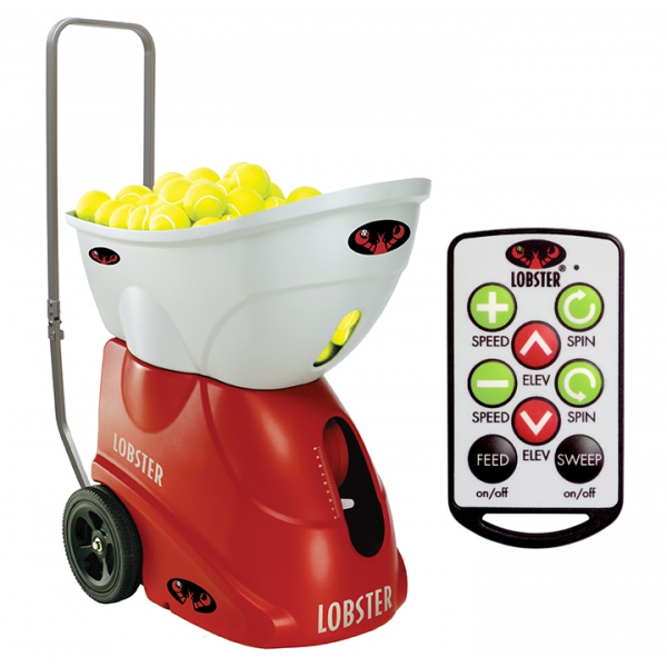 The Lobster Elite 2 tennis ball machine with remote